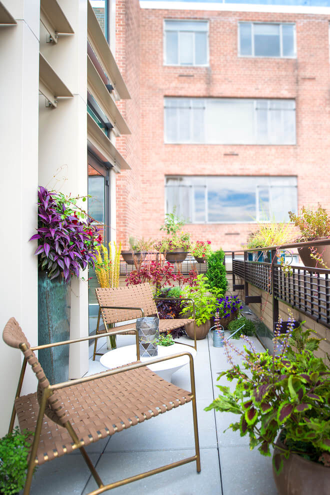 Classic Balcony Garden With Potted Plants